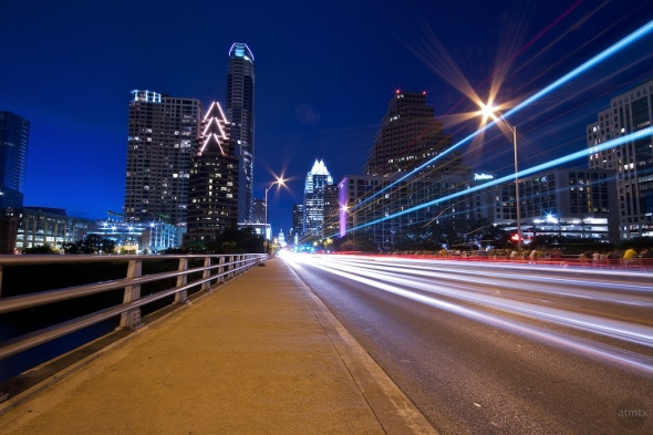 Austin Texas Downtown Congress Avenue Bridge Light Streaks