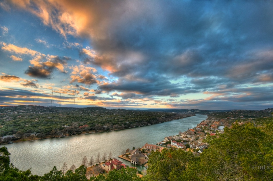 Mount Bonnell Realistic HDR Austin Texas Sunset
