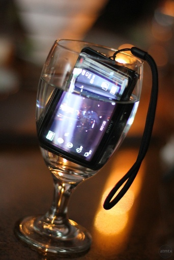 Sony TX5 in a water-glass